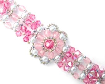 Pink swarovski elements bracelet, pink bracelet, floral bracelet, summer bracelet, rose swaroski, flower bracelet, pink crystal