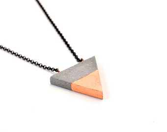 Concrete Triangle Necklace with Copper Leafing / Concrete jewelry / Modern Necklace