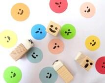 Face stamps set, Hobonichi stamps, Kids toy gift idea, Kawaii stationery, JapanesRubberStamps