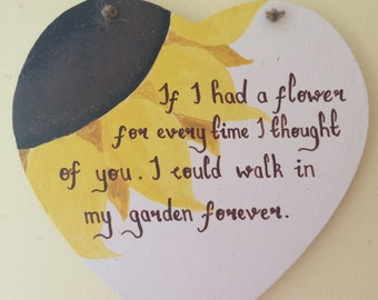Wooden heart decoration with Tennyson quote (can be personalised)