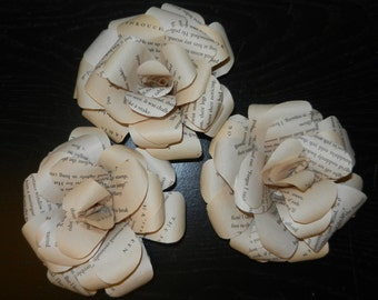 Book Page Flower Magnet Set of 3
