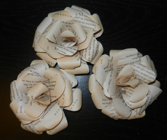 Book Page Flower Magnet Set of 3