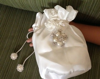 Bridal Money Bag, Satin Money Bag, Wedding Purse, Evening Bags, Wedding Money Bag