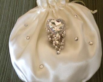 Satin Bridal Bag, Bridal Money Bag, Bridal Accessories, Wedding Purse, Wedding Bag, White Satin Bag, ivory Satin Bag