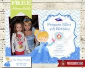 Cinderella Birthday Photo Invitation | Card | Disney | Digital | Printable | DIY | Print file | invite | Halloween | Party | Slipper