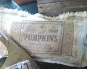 Primitive Fall Burlap Pumpkin Label Pillow FREE SHIPPING