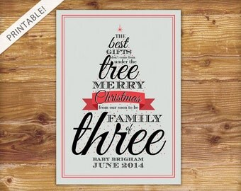 Typographic Red Christmas Tree Pregnancy Announcement - Holiday Card - Christmas Card - New Baby