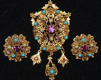 signed floremza brooch and earring set