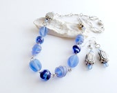 Blue and Silver Wire Wrapped Beaded Necklace, Blue Dangle Earrings