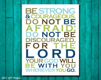 Joshua 1:9. Scripture. Bible Verse. Christian Art. Little Boys Wall Art. Boy Nursery Decor. Be strong and courageous. Boys Room Decor.