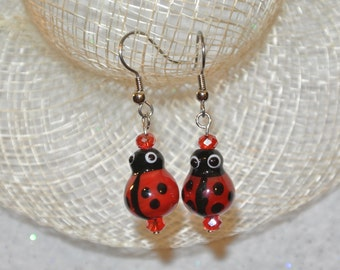 Glass Ladybug Earrings
