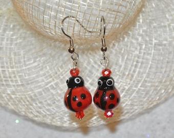 Glass Ladybug Earrings