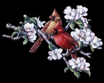 Spring Cardinal &  Apple Blossom T SHIRT, Sweatshirt, Quilt Fabric Block Item no. 215d