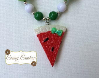 Summertime Watermelon Chunky Necklace
