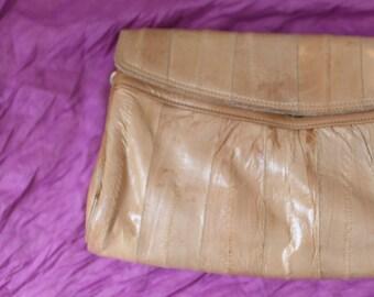 vintage tan REPTILE LEATHER clutch wristlet purse