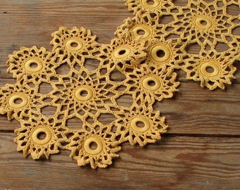 2 Crochet circle doily lace decor Vintage decor for the  celebratory table in Yellow