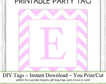 Instant Download - LETTER E, Pink Chevron Party Tag, Monogram Party Tag, Pink Chevron Monogram, DIY Cupcake Topper, You Print, You Cut
