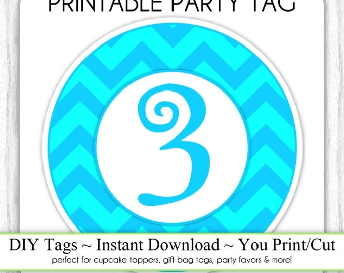 Instant Download - 3rd Birthday Printable Party Tag, Blue/Teal Birthday Party Tag, DIY Cupcake Topper, You Print, You Cut