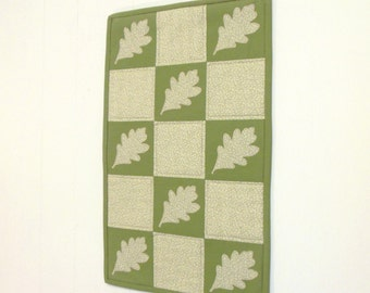 Oak Leaf Art Quilt Sage Green Wall Art Wall Hanging