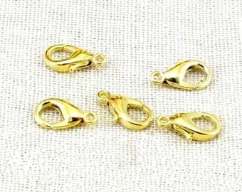 DIY jewelry -100 pcs of antique golden lobster claw clasp 7x12mm