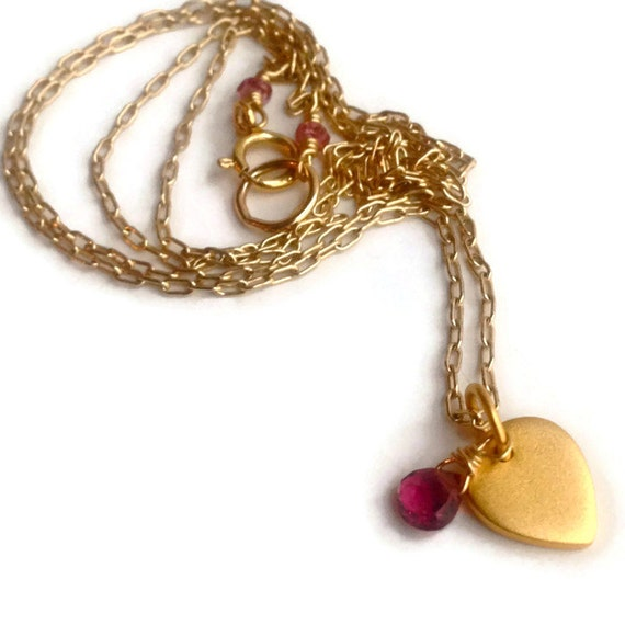 Gold Lotus Charm Necklace  Rhodolite Garnet Briolette  Gift for Her Holiday Gift with Meaning  Heart Chakra Root Chakra