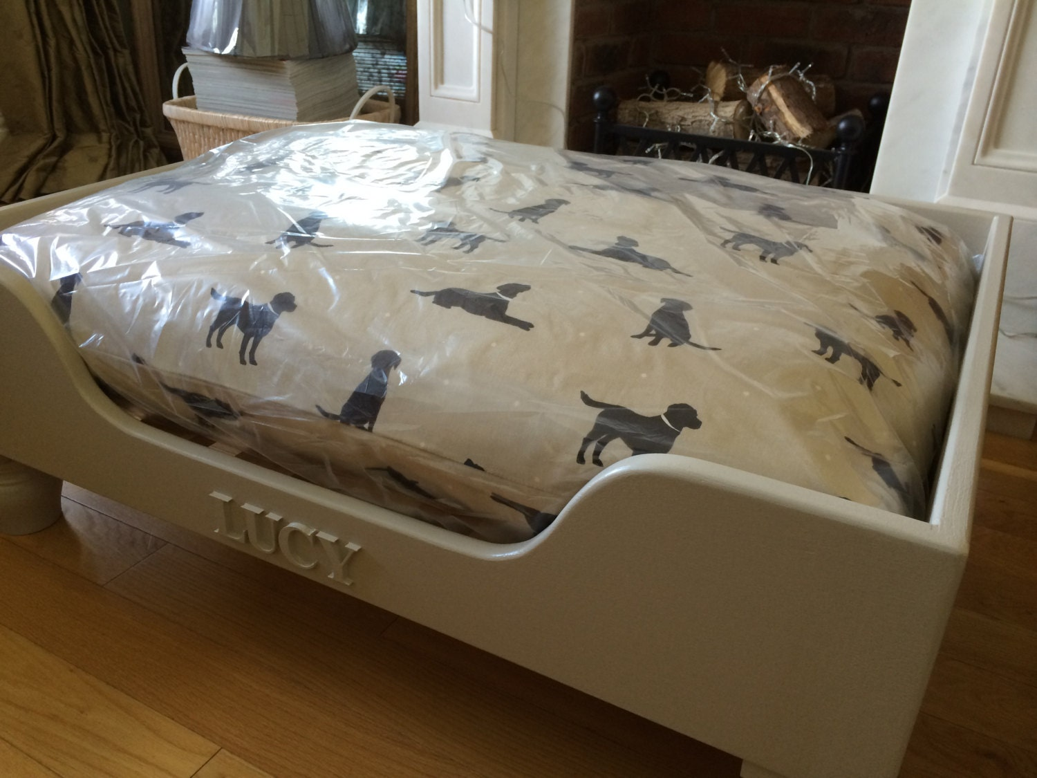 Hand made bespoke luxury wooden dog beds by for Wood dog bed furniture