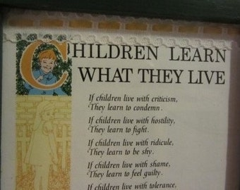 Children Learn What They Live Prayer Card | Gannon's ...