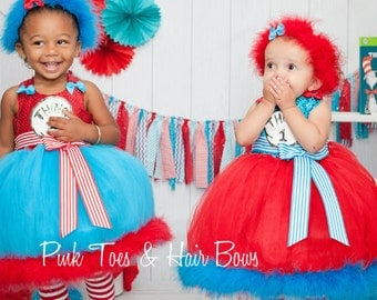 Thing 1 and Thing 2 Tutu dress- Thing 1 and Thing 2 tulle dress- Thing 1 and Thing 2 dress-Thing 1 and Thing 2costume
