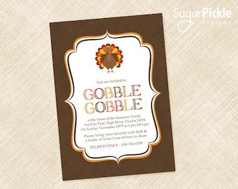 Thanksgiving Dinner Invitation, Thanksgiving Invitation, Thanksgiving Invites, Dinner Party Invitation, Friendsgiving Invitation