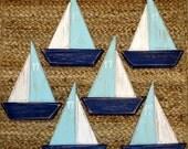 Sailboat Magnets & Ornaments Nautical Decor - Reclaimed Wood
