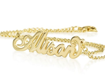 Name Necklace  18K Gold Plated Over Brass Personalized Necklace Choose Any Name