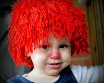 Clown Wig - Raggedy Ann Wig - Yarn Wig - Costume