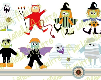 Halloween characters .CLIP ART .DIGITAL.