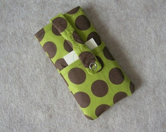 iPhone 5 Case, iPhone 4 Case, iPod Classic Case, Credit Card Holder, Clutch, Purse, Green Brown Polka Dots