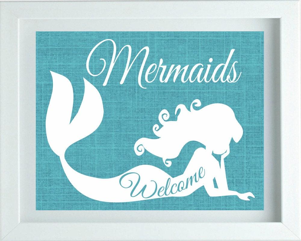 Mermaids Welcome Print Girls Bedroom Decor Girls Bathroom