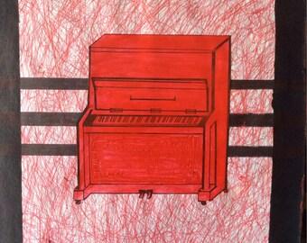 Red Piano Mixed media Art