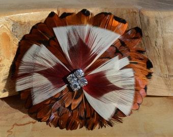 Red, Brown, White, and Black Feather Hair Clip