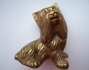 Vintage Solid Brass Yorkshire Terrier Dog