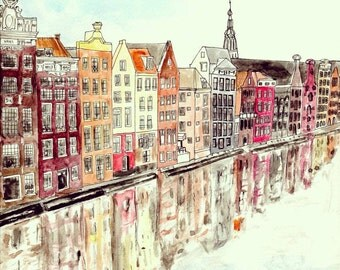 Amsterdam Houses - Watercolour Art Print
