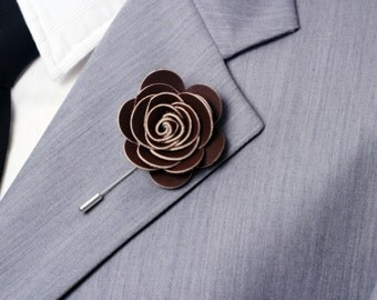 Brown lapel flower, lapel pin, modern groomsmen boutonniere, wedding boutonniere
