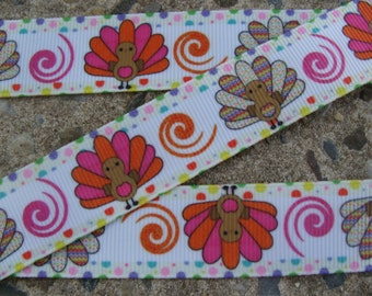 "3y Turkey Ribbon Thanksgiving Ribbon Turkey Printed Ribbon 7/8"" Hair Bow Ribbon"
