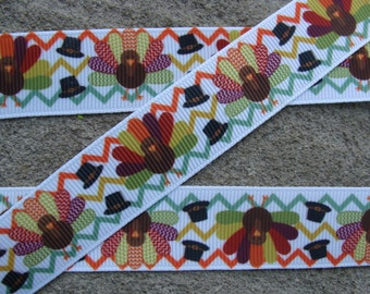"Turkey Ribbon Thanksgiving Ribbon Happy Turkey Printed Ribbon 7/8"" Hair Bow Ribbon #001"