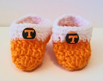 Adorable Hand Crocheted Baby Bootie Shoes Orange and White Vols Inspired Great Photo Prop Matching Hat & Bib Also Available