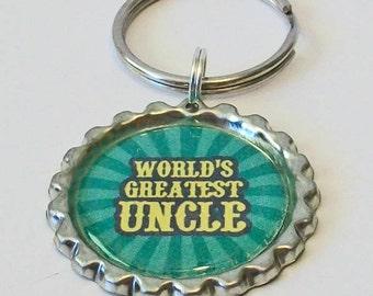 Green World's Greatest Uncle Metal Flattened Bottlecap Keychain Great Gift