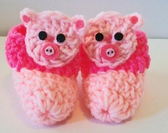 Adorable Hand Crocheted Baby Bootie Shoes Pink Pig Great Photo Prop Matching Hat & Bib Also Available