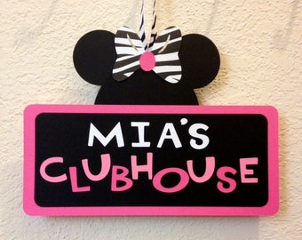 Zebra Minnie Mouse Birthday Clubhouse Sign - Personalized