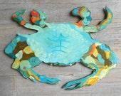 Blue Crab Wood Wall Sign by Kimberly Hodges, Blue Crab folk art, Crab sign, Beach decor coastal decor