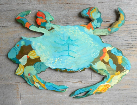 Blue Crab Wood Wall Sign by Kimberly Hodges, Blue Crab folk art, Crab sign, Beach decor coastal decor