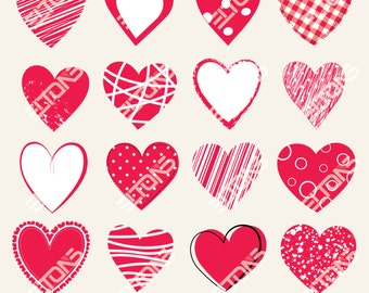 16 Valentine's Day Hearts Clipart, Instant Download, DIY