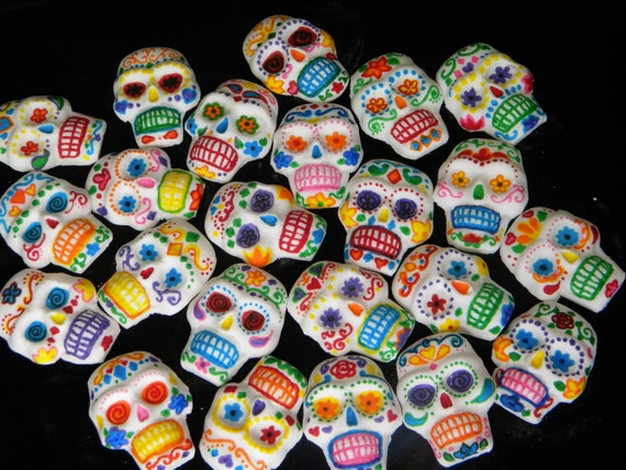 Items Similar To Sugar Skulls Day Of The Dead Fondant